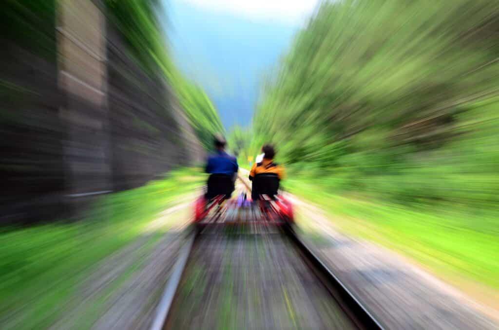 Rail riding at Revolution Rail in the Adirondacks of Upstate New York